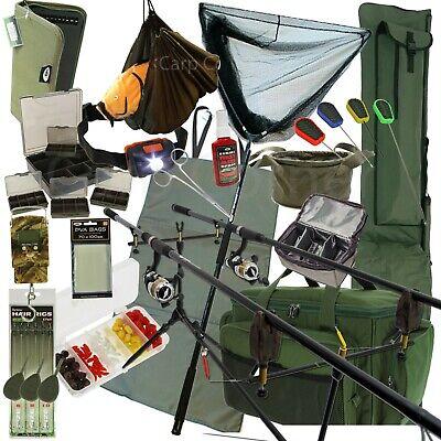 Complete Carp Fishing 2 Rod And Reel Setup Alarms Pod Mat Net Bag Tackle Luggage