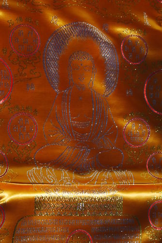 Funeral in Casket Body Blanket Chinese Buddhist Tradition Gold