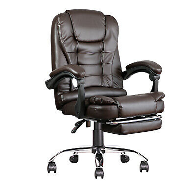 Ergonomic High-back Office Computer Chair Pu Leather 360 Swivel Brown Footrest