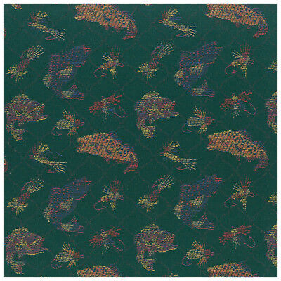 Novelty Fly Fishing Trout Aquamarine Green Ogee Upholstery Fabric By The Yard (Novelty Upholstery Fabric)