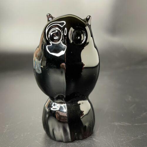 """Reijmyre Sweden Black Glass Owl Figurine Paperweight 3"""" Dark Purple"""