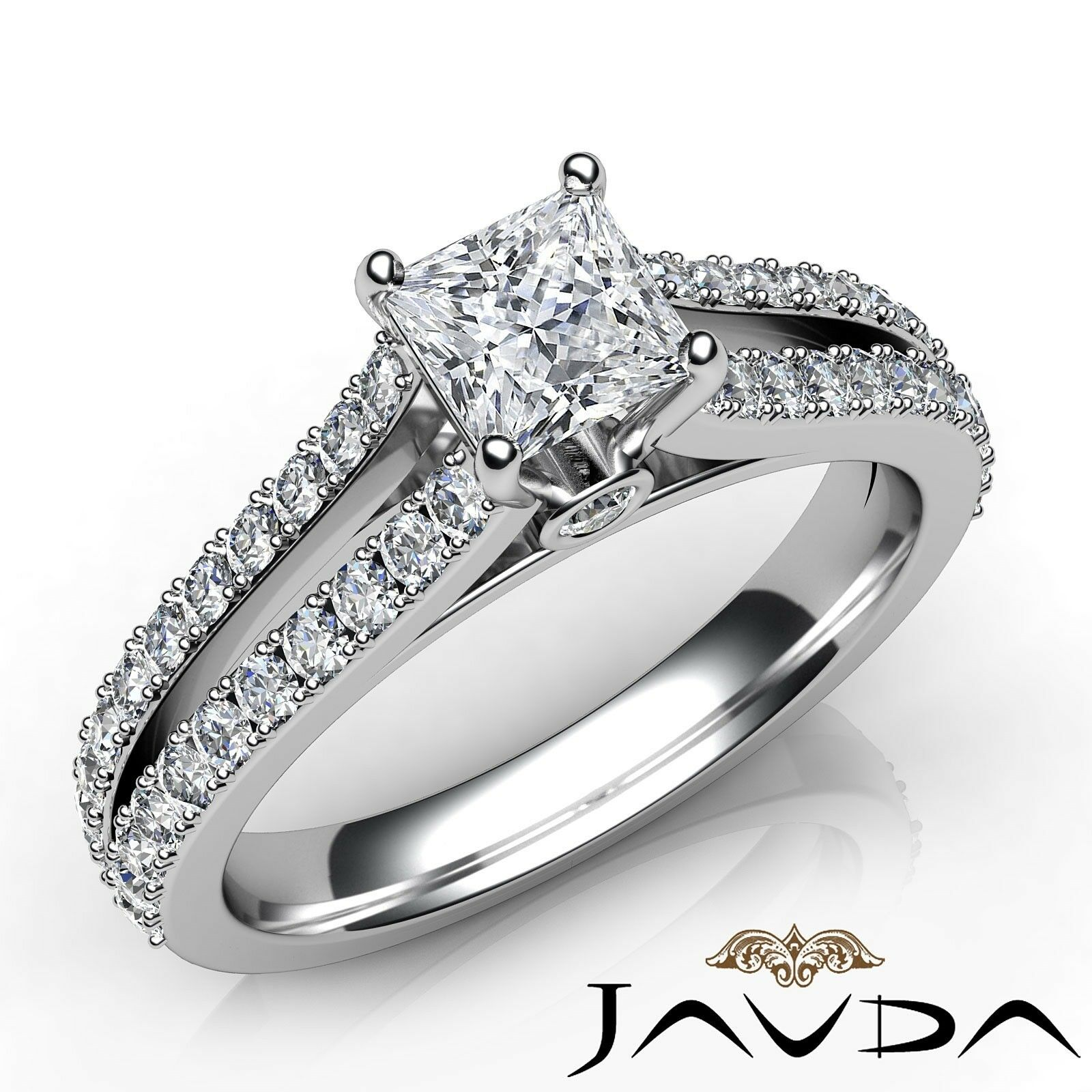 1.35ctw Split Prong Princess Diamond Engagement Ring GIA D-SI1 White Gold Rings