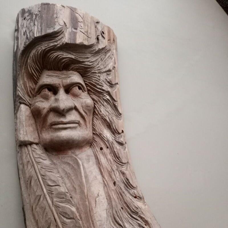 "Vintage large Hand Carved Indian chief head Natural Wood figure tree spirt 20"""