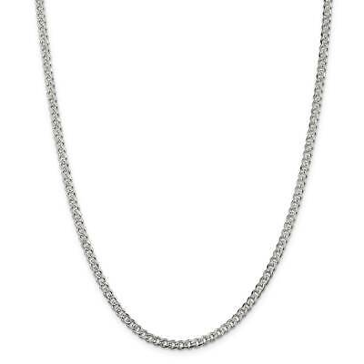Silver Pave Curb Chain - 925 Sterling Silver 4mm Polished Pave Curb Link Chain Necklace 7