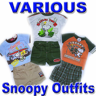 SNOOPY WOODSTOCK Boys 2 Pc Outfit Shirt Shorts Jean Denim VARIOUS DESIGNS (Woodstock Outfits)