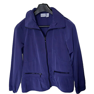 Chicos Zenergy Windbreaker Jacket Size 1 M Purple Peplum Light Spring Super Cute