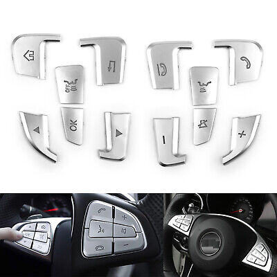 Steering Wheel Button Silver Trim For Mercedes Benz A B C Class GLC CLA CLS GLE