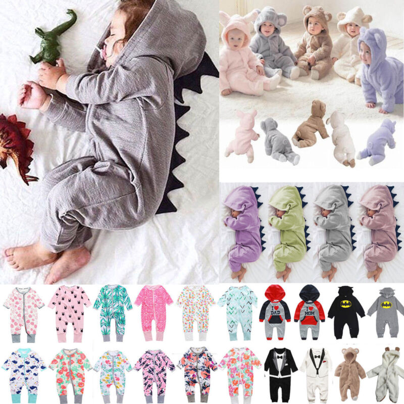 Newborn Baby Hooded Romper Outfits Set Long Sleeve Playsuit