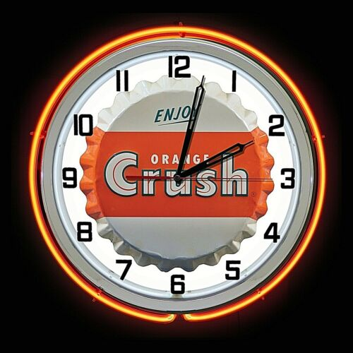 """19"""" Enjoy Orange Crush Soda Bottle Cap Sign Orange Double Neon Clock ManCave Pop"""