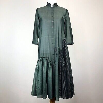 s.w.g.t. Green Cotton Shirt Dress Size S Asymmetric Pattern Chanderi Handwoven