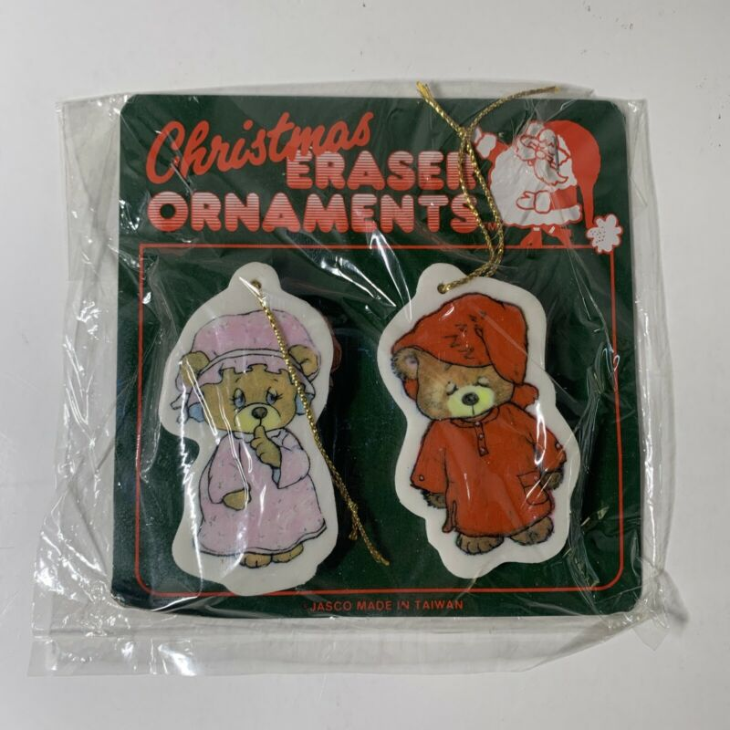 New Cintage Jasco Christmas Eraser Ornaments Bears In Pajamas NIP