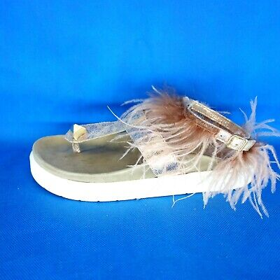 Inuikii Women's Shoes Sandals Ankle Feathers Size 38 39 40 Pink Foot Np 239 New