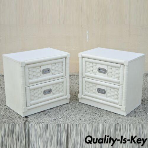 Dixie Cane Rattan Campaign Style White Hollywood Regency Nightstands - a Pair