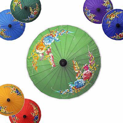 Schirm Sonnenschirm blau lila grün rot Durchmesser 25cm Fasching Karneval Asia