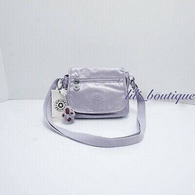 NWT Kipling AC8281 Sabian Crossbody Mini Shoulder Bag Frosted Lilac Metallic $49