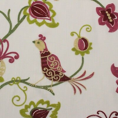 DESIGNER AVIARY CREWEL MAGENTA EMBROIDERED BIRD FLORAL VINE FABRIC BY YARD 58
