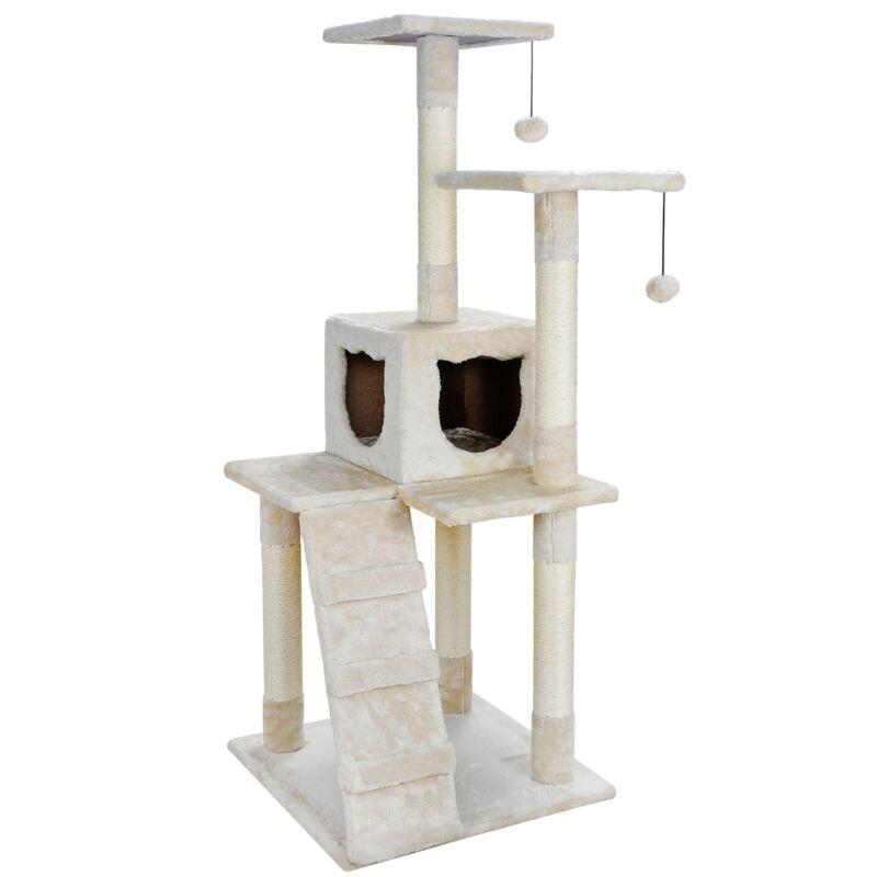 "Cat Tree Furniture Kitten House Play Tower Scratcher 52"" Beige Condo Post Bed"