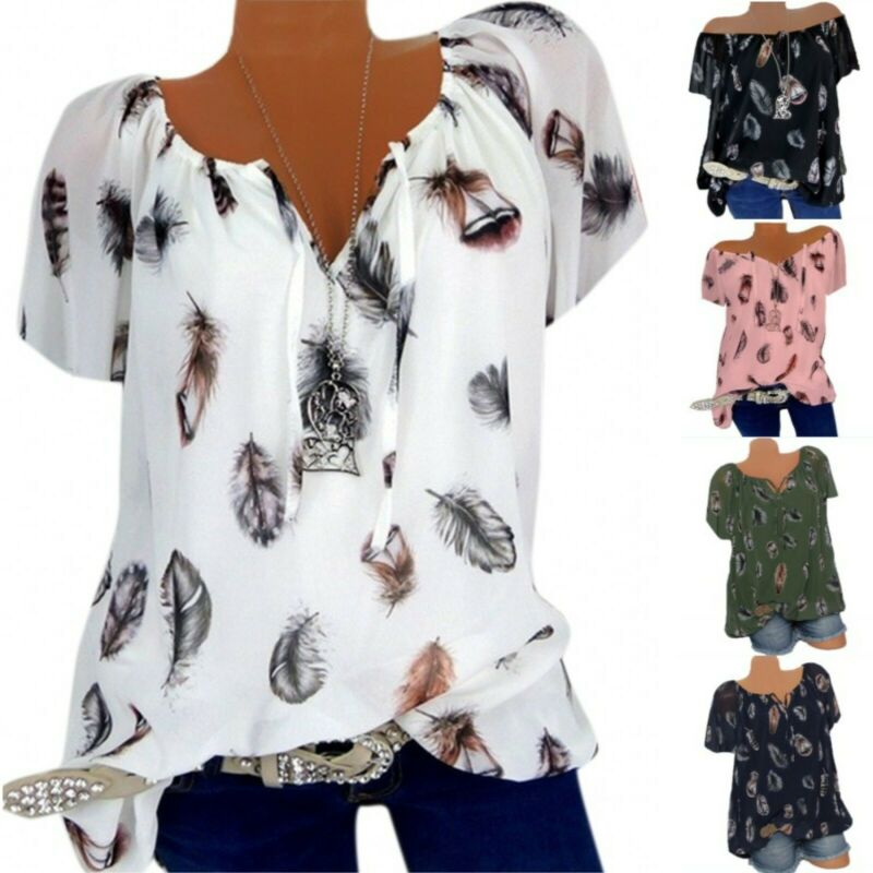 Plus Size Women Ladies Summer T Shirt Short Sleeve Blouse Casual Loose Tee Tops Clothing, Shoes & Accessories