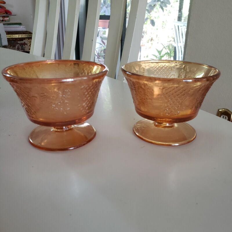 2 VINTAGE.MARIGOLD CARNIVAL GLASS DESSERT DISHES