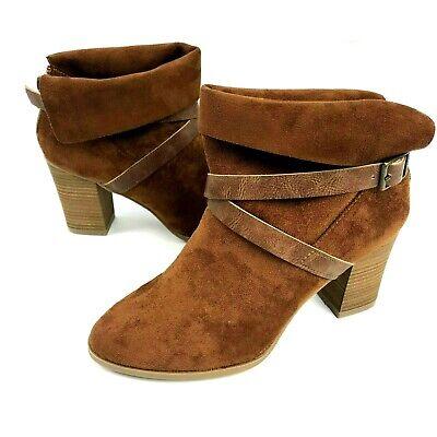 New Directions Jorie Womens Size 8 Brown Cognac Suede Ankle Booties Heels (Jorie Brown)