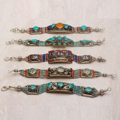 Tibetan Turquoise Coral Gemstone 5 Pcs Bracelet Wholesale Lot Jewelry Lot-757