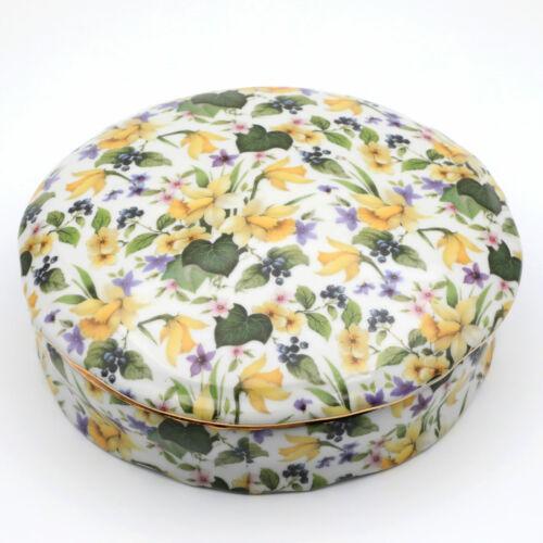 Formalities Baum Bros Daffodil Chintz Porcelain Candy Dish Trinket Box