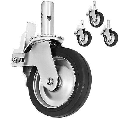Vevor Scaffold Caster 8 X 2 4pack Black Pu Wheel Foot Brake 1100lbs