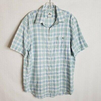 Lacoste Mens Plaid Button Front Linen Blend S/S Casual Shirt Size 42 Large Q203