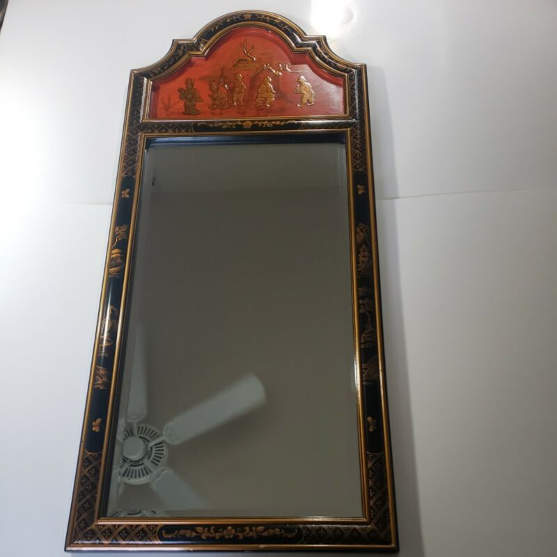 """Vintage Oriental Chinese Mirror Maitland-Smith Black Lacquer Hand Painted 42X18"""""""