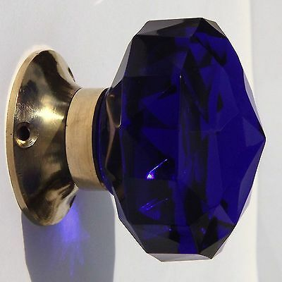 Door Knobs Cobalt Blue mortice (pair) large cut glass polished brass base 6.5cm