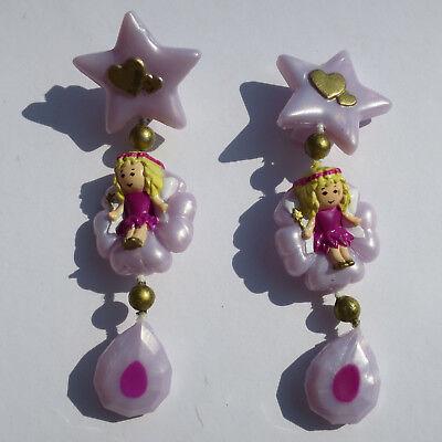 Mini Polly Pocket Stardust Fairy Earrings Feen Ohrclips Ohrringe Clip-on