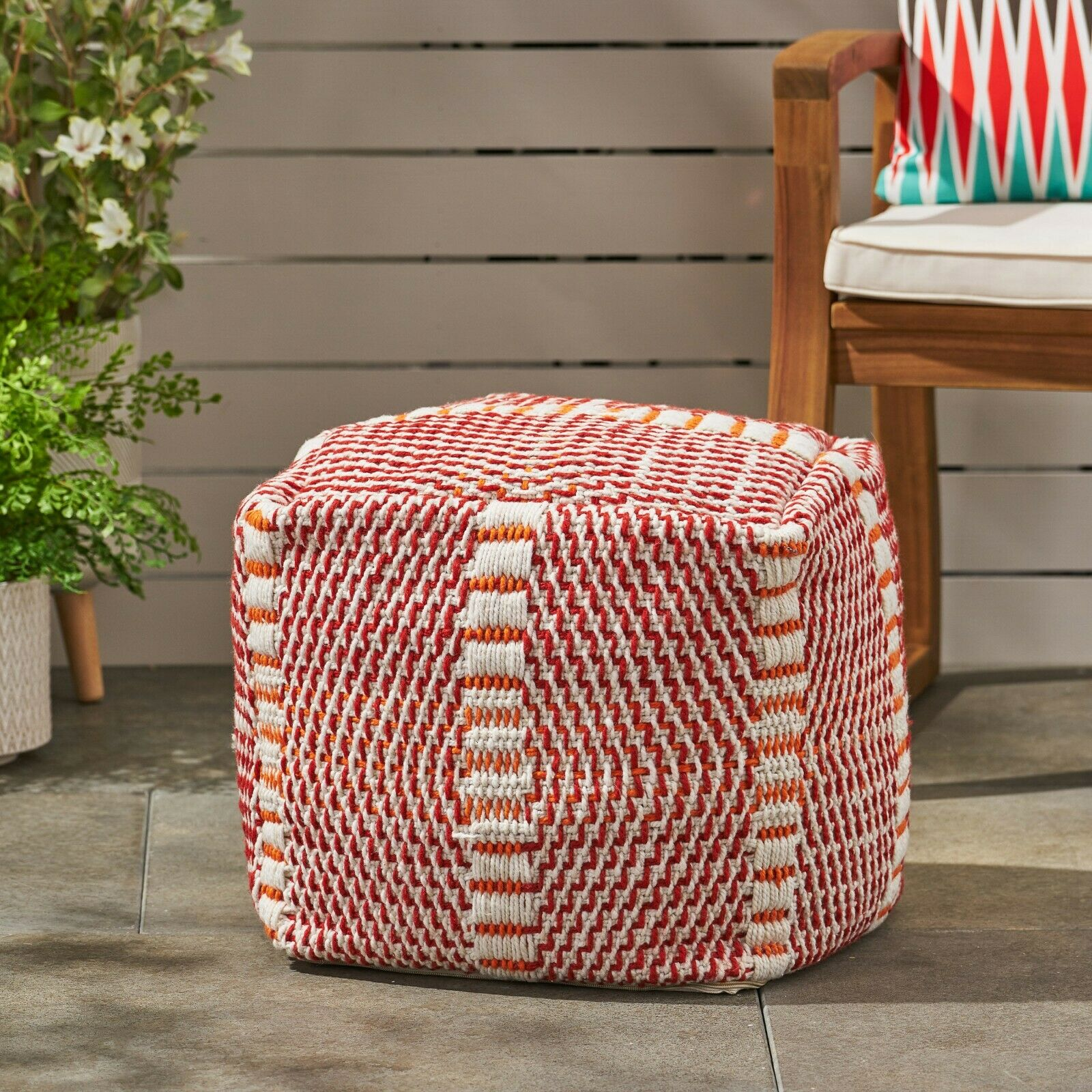Dexter Bay Outdoor Handcrafted Boho Water Resistant Cube Pouf Furniture