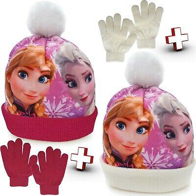 Frozen Mütze Bommelmütze + Handschuhe Kinder Winter Disney - Frozen Mädchen Anna Handschuhe
