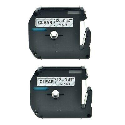 2pk 12mm Mk131 Label Tape Black On Clear 12 For Brother M-k131 Pt-90 Pt-110