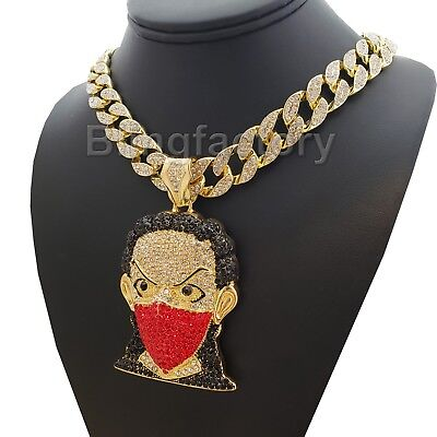 Hip Hop Iced out Masked Goon Pendant & 18