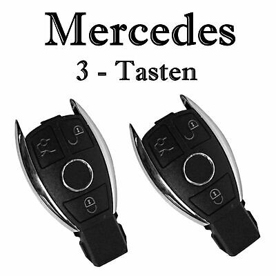2x Autoschlüssel Chrom Gehäuse für Mercedes 3-Tasten Infra Fernbedienung KS18L