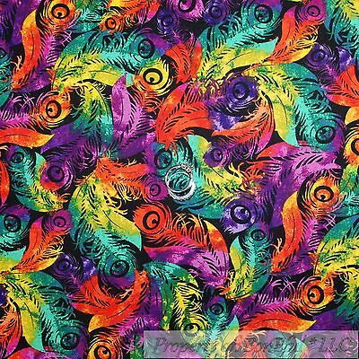 BonEful Fabric Cotton Quilt Rainbow Peacock Feather Bird Purple Red Green - Mardi Gras Fabric