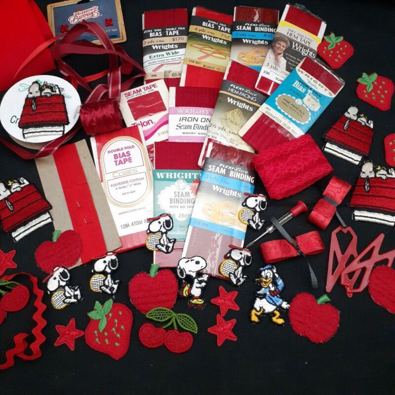 Red craft lot sewing trim applique ribbon bias seam binding collage junk journal