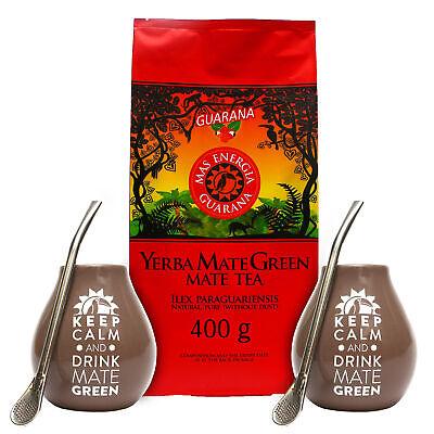 Doppelt Yerba Mate Tee Set Mate Green 'Mas Energia Guarana' 400g + nötig Zubehör