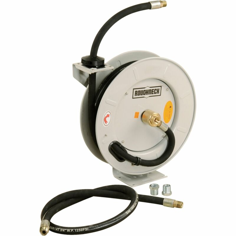 Roughneck Spring-Rewind Fuel and Oil Hose Reel with Hose - 1,250 PSI