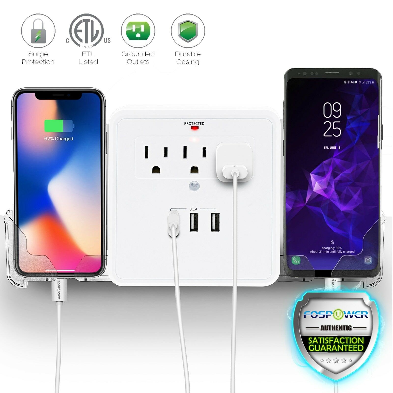 Multi 3 Outlet 3 USB Port Wall Tap Surge Protector Adapter Charger Phone Holder