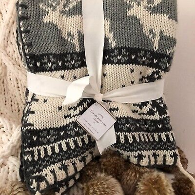 Nwt Pottery Barn ~fair Isle Faux Fur Pom Pom~ 50x60 Throw Blanket ~alpine~ Gray