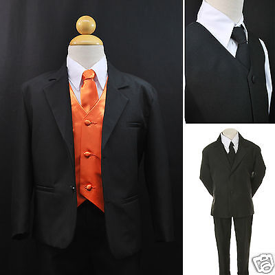 Toddler Boy Formal Party Black 7pc Tuxedo Suits Orange Ve...