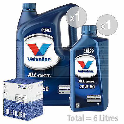 Engine Oil and Filter Service Kit 6 LITRES Valvoline All Climate 20w 50 6L