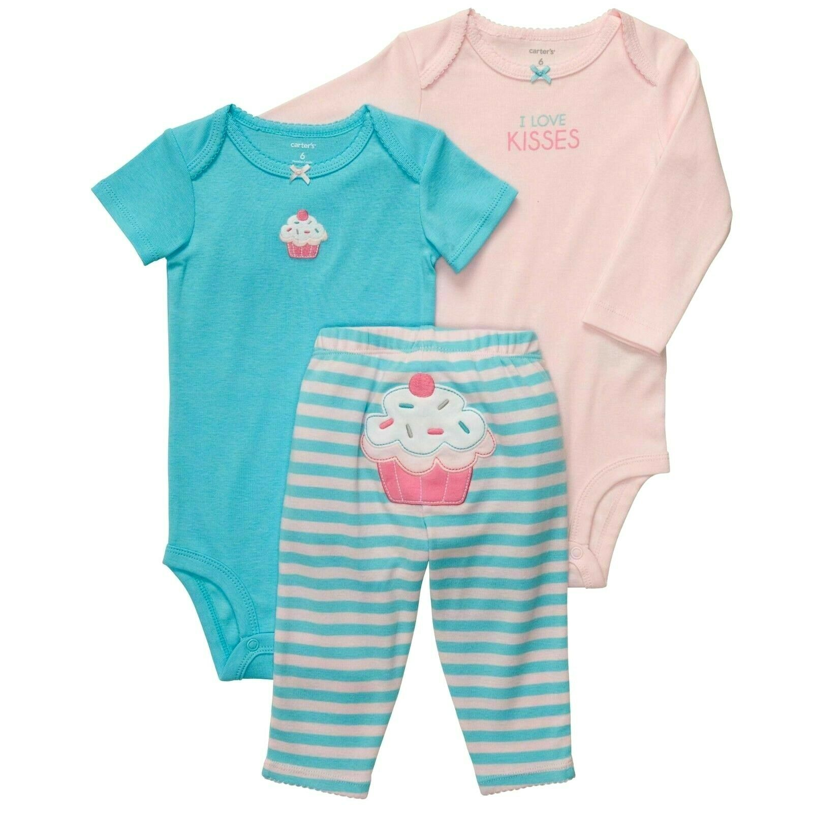 CARTER'S BABY GIRL 3PC LOVE KISSES CUPCAKE BODYSUITS PANT SET 6M OUTFIT CLOTHES