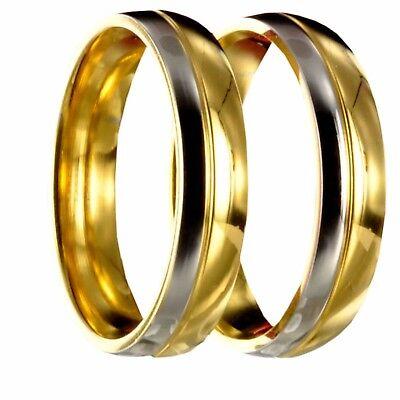 2 Edelstahl bicolor silber/gold Freundschaftsringe Eheringe incl. Gravur 20P168