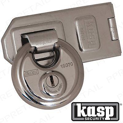 KASP RATED 11 SECURITY DISC PADLOCK & HASP SET 70mm Gate Shed Door Secure Lock
