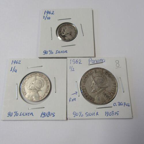 1962 PANAMA SILVER BALBOA ( 1/10, 1/4, 1/2 ) COINS