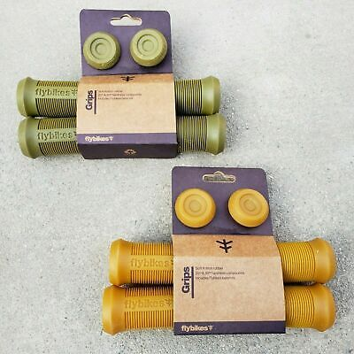 FLY BIKES DEVON FLANGELESS GRIPS GUM OR MILITARY GREEN BMX BIKE GRIP CULT PRIMO Fly Bmx Bikes
