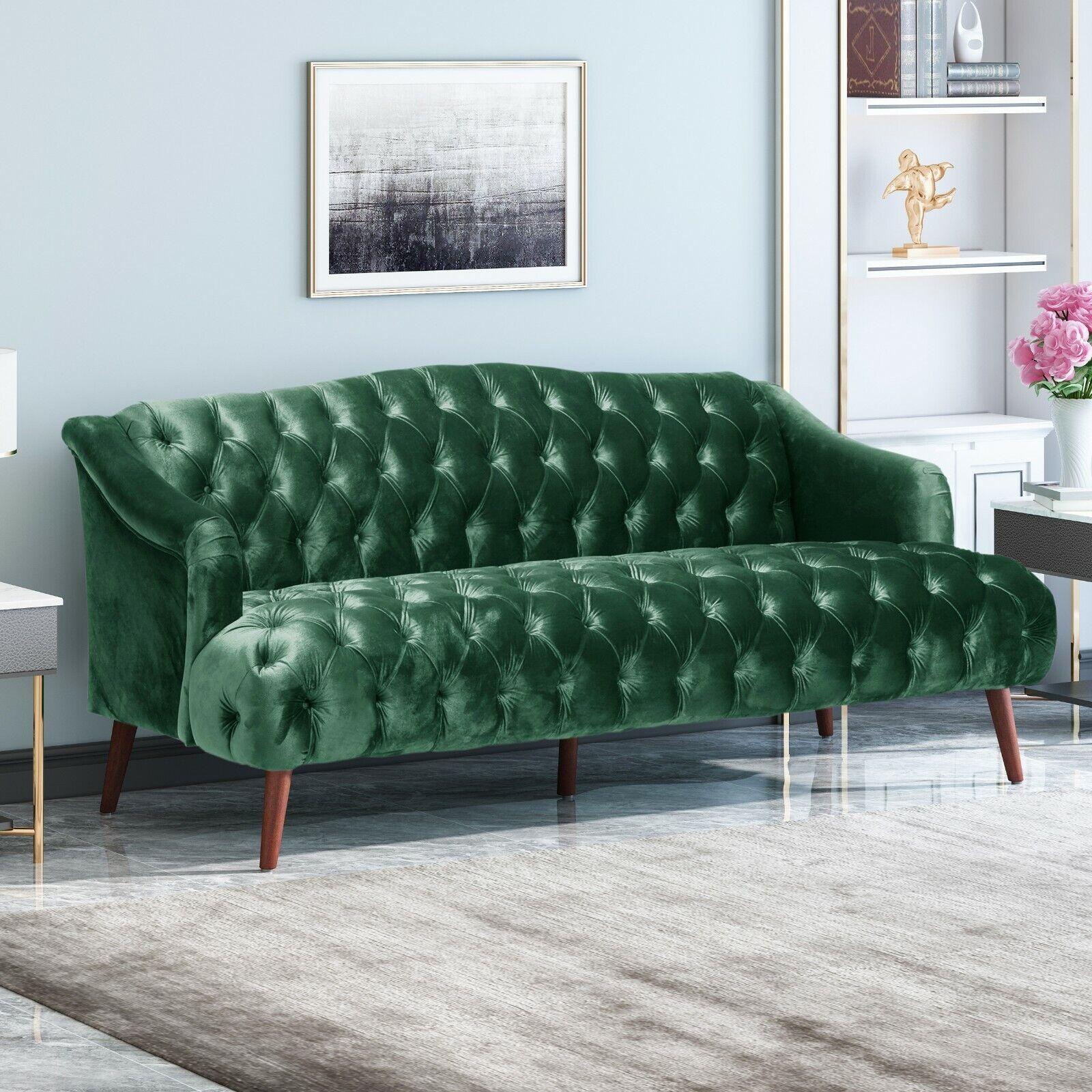 Kayleigh Modern Glam Tufted Velvet 3 Seater Sofa